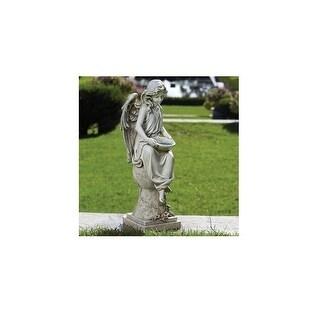 "21"" Gray Joseph's Studio LED Solar Powered Angel on a Pedestal Outdoor Garden Statue - N/A"
