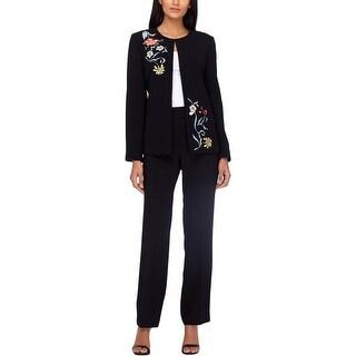 Tahari ASL Womens Petites Pant Suit 2PC Embroidered - 4P