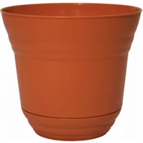 """Robert Allen PIM01202 Traverse Planter with Attached Saucer, 7"""", Tango Orange"""