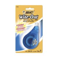 BIC Wite-Out EZ Correct Dry Tear-Resistant Translucent Correction Tape, 1/5 in X 39.4 ft, White