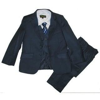 Boys Navy Classic Formal 5 Pcs Vest Shirt Tie Suit