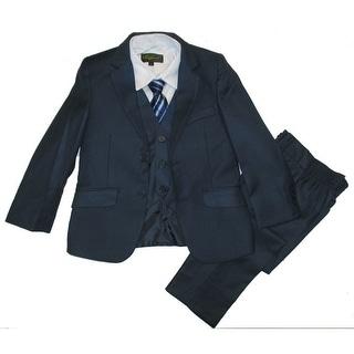 Little Boys Navy Classic Formal 5 Pcs Vest Shirt Tie Suit 2T-7