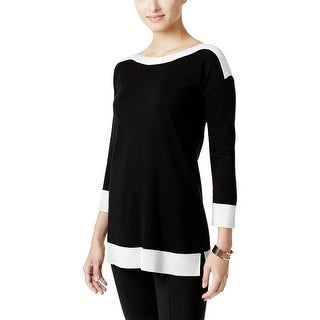 Cable & Gauge Womens Sweater Contrast-Trim 3/4 Sleeves