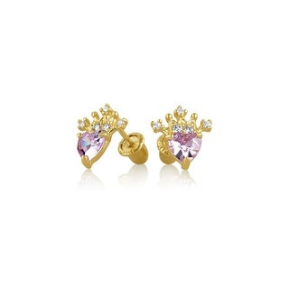 Bling Jewelry Pink CZ Heart Crown Baby Safety Screwback 14K Gold Studs