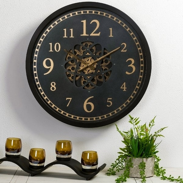 """Glitzhome 22.8""""D Morden Metal Wall Clock with Moving Gears. Opens flyout."""
