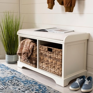 "Safavieh Freddy Distressed White Wicker Storage Bench - 33.5"" x 16.1"" x 19.9"""