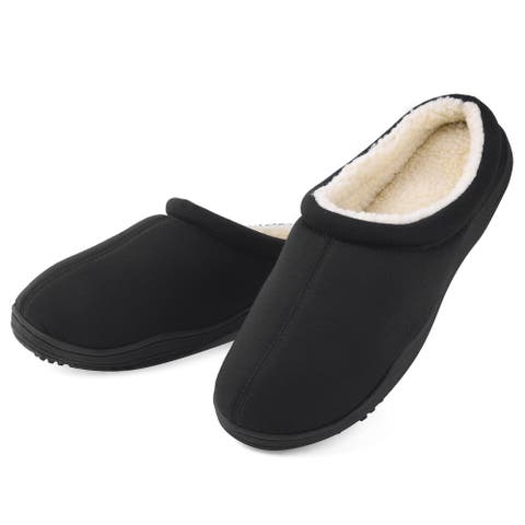 Men's Winter Warm Fleece Lined Memory Foam Slippers - Anti Skid Sole Indoor Outdoor House Shoes