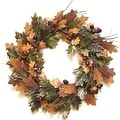 """20"""" Autumn Harvest Decorative Brown and Green Artificial Leaves Acorns and Twigs Wreath - Unlit - Thumbnail 0"""