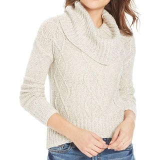 Oh MG! Womens Juniors Pullover Sweater Cable Knit Cowl Neck
