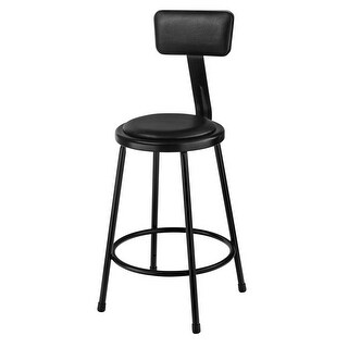 24 in. Black Stool with Padded Seat & Backrest