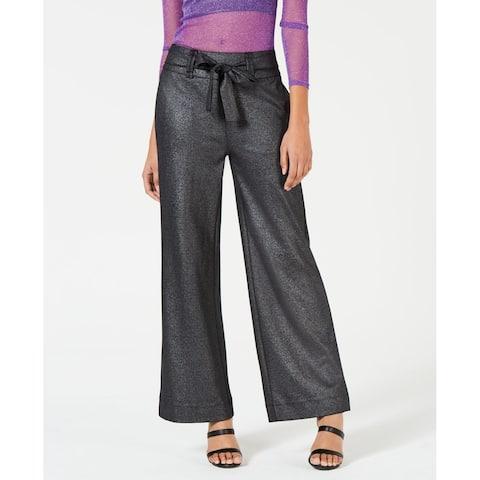 XOXO Womens Dress Pants Black Size XS Tie-Waist Wide-Leg Trousers