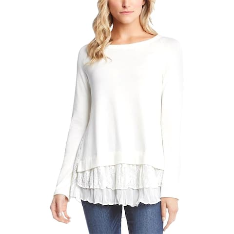 Karen Kane Womens Pullover Sweater Ribbed Knit Tiered - M
