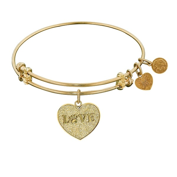 "Angelica Collection Non-antique Stipple Finish Brass ""love W/ Paw"" Expandable Bangle"