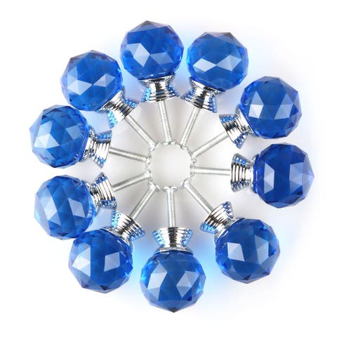 """1.18""""Crystal Glass Drawer Knobs Cabinet Pull Handle Round Shape 10pcs - 1.18"""" x 1.18""""(D*H)"""