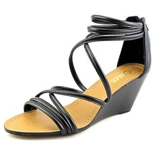 Carlos by Carlos Santana Venice Women Open Toe Synthetic Black Wedge Sandal