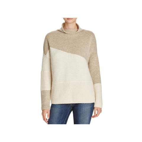 French Connection Womens Mock Sweater Colorblock Long Sleeve