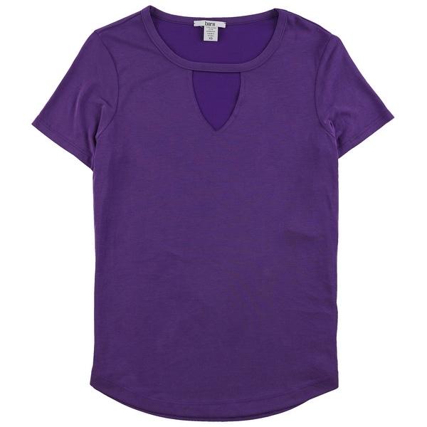 Bar III Womens Keyhole Basic T-Shirt