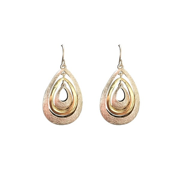 max & MO Two-Tone 4-Tier Teardrop Dangle Earring