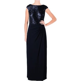 Lauren Ralph Lauren Womens Petites Evening Dress Sequined Ruched