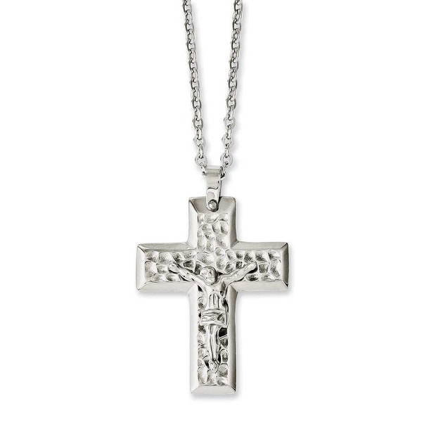 Chisel Stainless Steel Polished & Textured Crucifix 20in Necklace (2 mm) - 20 in