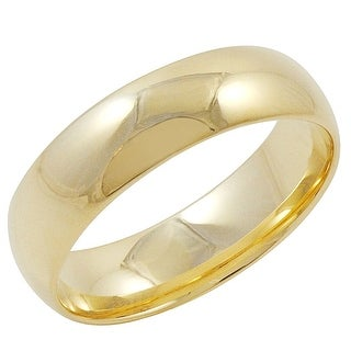 Men's 14K Yellow Gold 6mm Comfort Fit Plain Wedding Band (Available Ring Sizes 8-12 1/2)