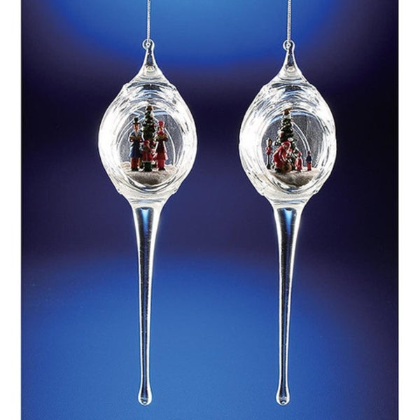 "Pack of 6 Icy Crystal Egg-Shaped Christmas Scene Ornaments with Icicles 9.3"" - CLEAR"