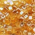 Miyuki 4mm Glass Cube Bead Mix 'Amber Gold Medley' 10 Grams - Thumbnail 0