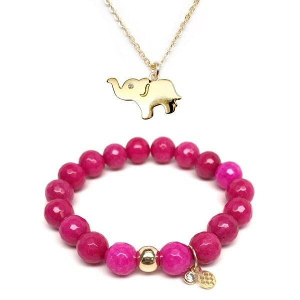 Fuchsia Quartz Bracelet & CZ Elephant Gold Charm Necklace Set