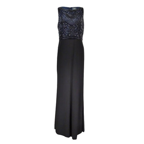 6d914fa081bd0 Shop Adrianna Papell Women s Beaded Bodice Jersey Gown - Navy Black - On  Sale - Free Shipping Today - Overstock - 18303291