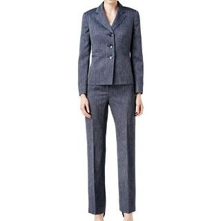 Le Suit NEW Navy Blue Women's Size 8 Three-Button Pant Suit Set