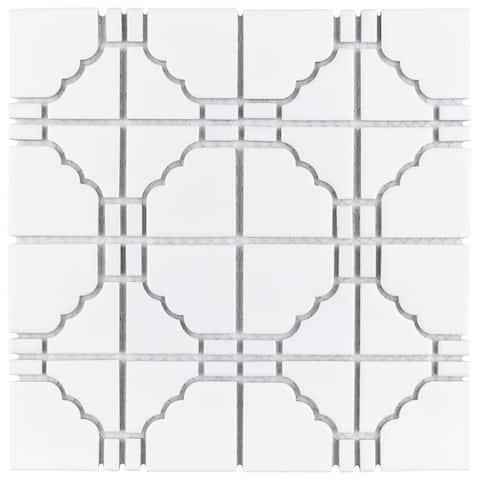 SomerTile 11.75x11.75-inch Namba Matte White Porcelain Mosaic Floor and Wall Tile
