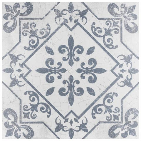 SomerTile 17.625x17.625-inch Pacific Azul Ceramic Floor and Wall Tile (7 tiles/15.53 sqft.)