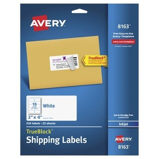 Avery Permanent-Adhesive Shipping Labels with TrueBlock Technology For Laser and Inkjet Printers, 2 x 4 in, White, Pack of 250