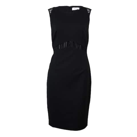 Calvin Klein Women's Cutout-Trim Solid Sheath Dress - Black