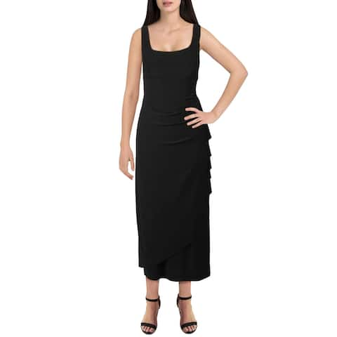 Alex Evenings Womens Petites Maxi Dress Knit Sleeveless - Black - 12P