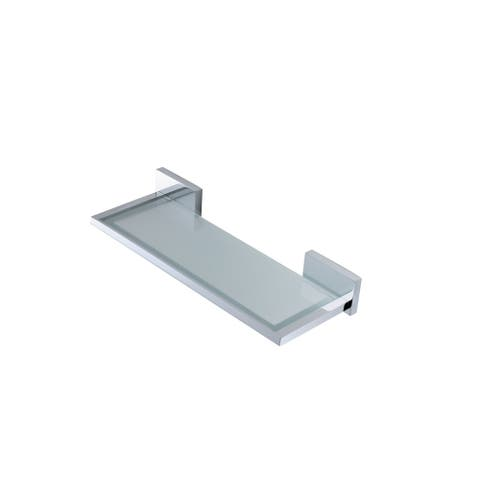 "WS Bath Collections Carmel 2671 12"" Modern Frosted Glass Wall Mounted Bathroom Shelf"