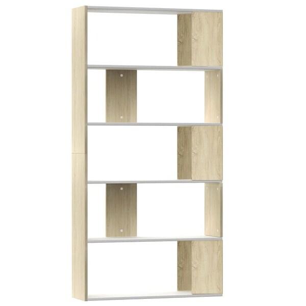 """vidaXL Book Cabinet/Room Divider White&Sonoma Oak 31.5""""x9.4""""x62.6"""""""
