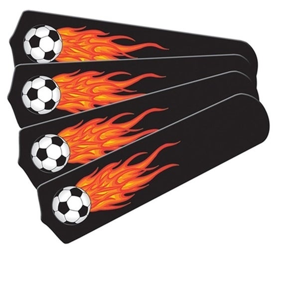 Flaming Soccer Balls Custom Designer 42in Ceiling Fan Blades Set - Multi