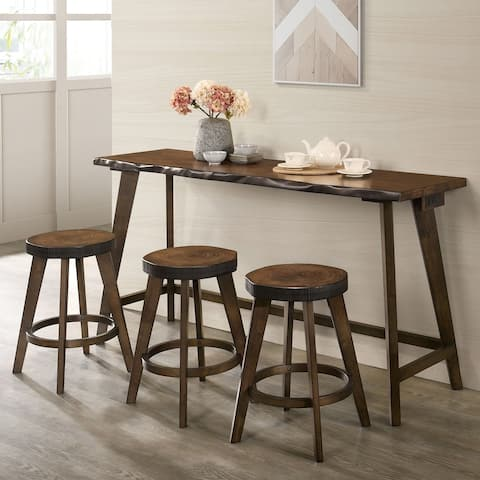 Furniture of America Dewl Farmhouse Walnut 4-piece Counter Table Set