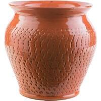 "11.8"" Textured Fiesta Burnt Orange Indoor/Outdoor Decorative Ceramic Planter"
