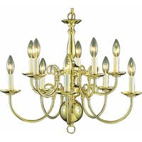 "Volume Lighting V3570 10 Light 21"" Height 2 Tier Chandelier - Polished brass"