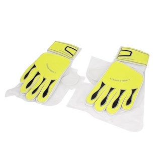 Unique Bargains Pair Football Sports Hook Loop Closure Full Finger Goalkeeper Gloves Yellow