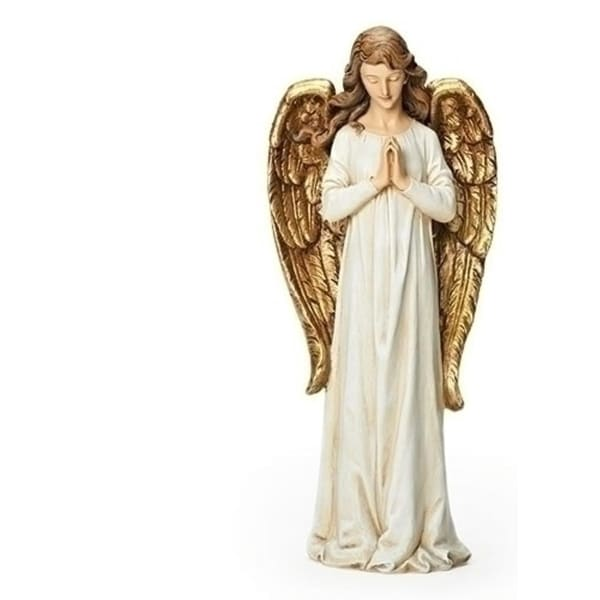 "15.5"" Gold and Ivory Praying Angel Figure"