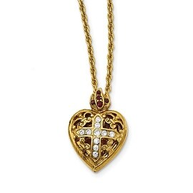 14k Gold IP Red & Clear Crystal Sacred Heart Locket Necklace - 18in