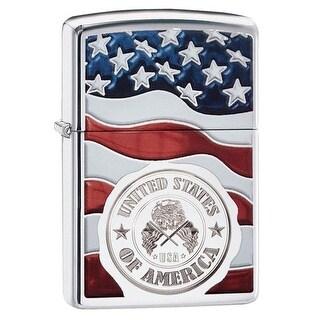 Zippo 29395 United States of America Flag Polish Chrome Lighter