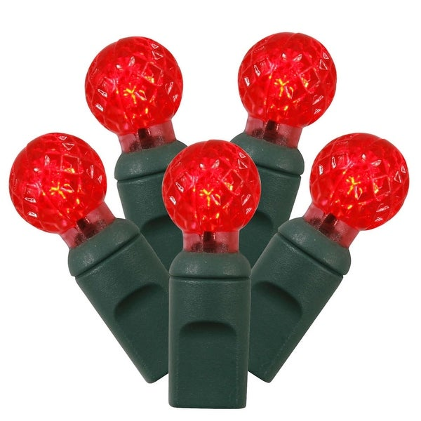 """Set of 100 Red LED G12 Berry Christmas Lights 4"""" Spacing - Green Wire"""