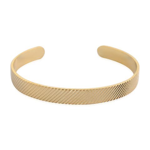 Women Goldtone Cuff Bangle Bracelet Fine Gift Jewelry Size 7 Inch - Bracelet 7''