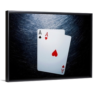 """""""Two Aces Playing Cards on Stainless Steel."""" Black Float Frame Canvas Art"""