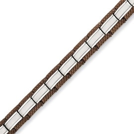 Stainless Steel Chocolate-plated 8.75in Bracelet