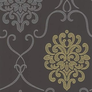 Brewster DL30440 Suzette Grey Modern Damask Wallpaper